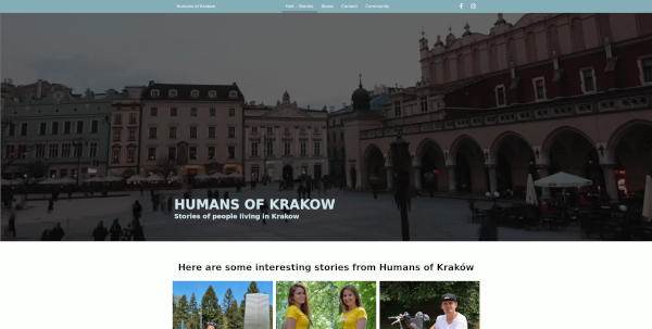 humansofkrakow main site screen