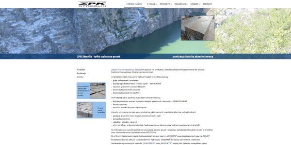 zpkstrzelin.pl - widok strony głównej producenta galanterii granitowej